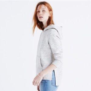 Madewell Heathered Gray Side-Slit Hoodie Sweater S